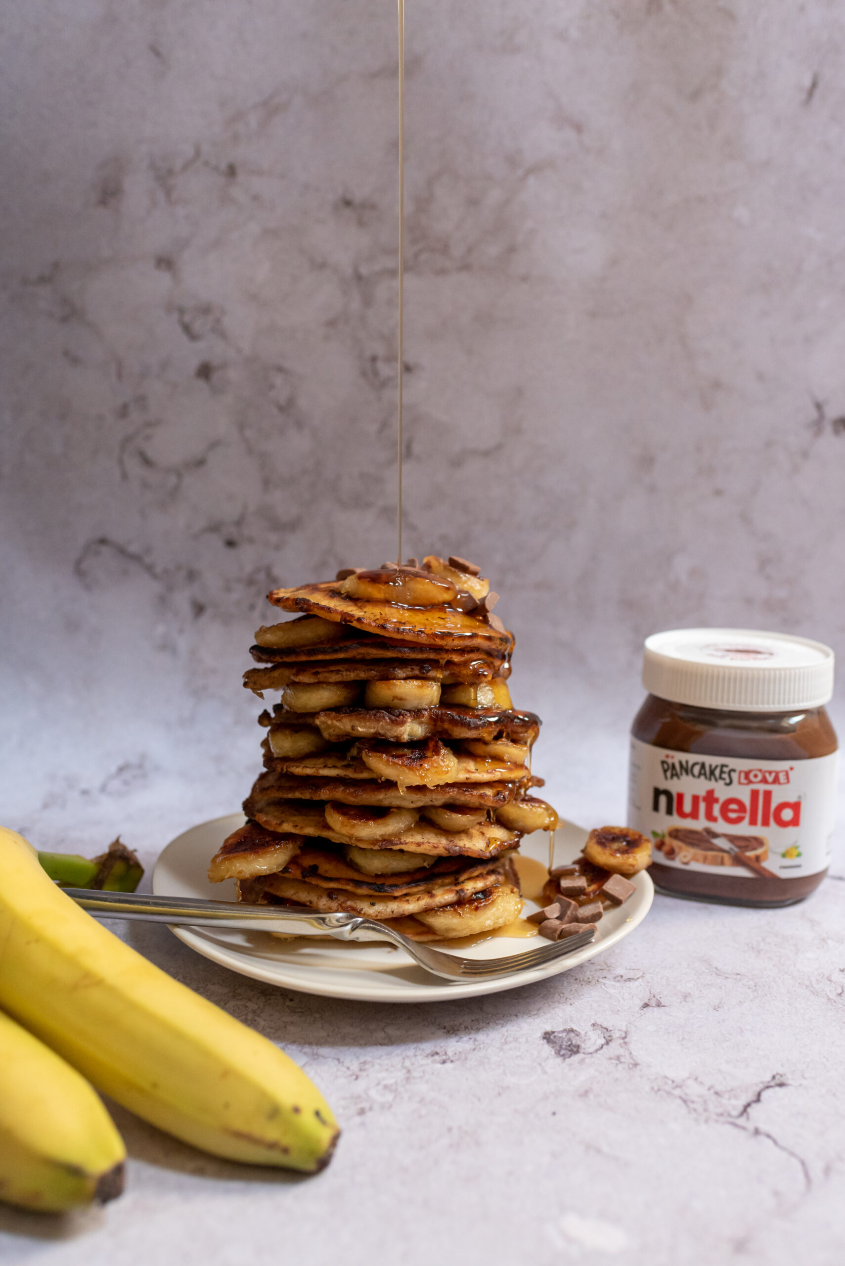 Chocolate Filled Pancakes With Caramelised Bananas